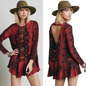 Free People Smooth Talker Tunic Dress Copper Combo